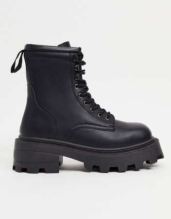 Topshop square toe chunky lace up boots in black | ASOS