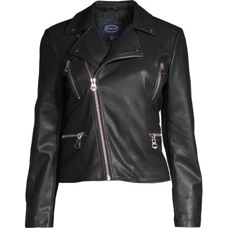 Scoop - Scoop Faux Leather Jacket Women's - Walmart.com
