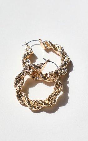 Gold Creole Chunky Hoop Earrings | PrettyLittleThing