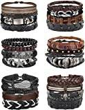 Amazon.com: khsm 44PCS Leather Bracelet Woven BraidedLeather Bracelet for Men Women Vintage Hemp Cords Wood Beads Cuff Bracelets Adjustable: Jewelry