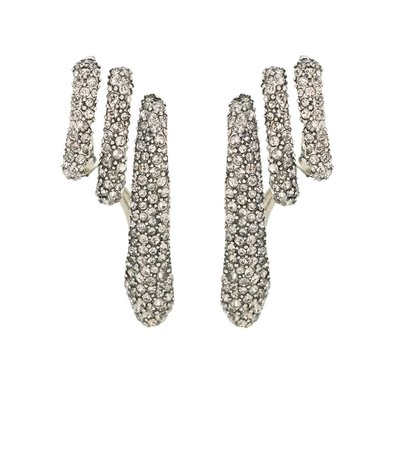 Crystal-Embellished Silver-Plated Cuff Earrings - Alexander McQueen | Mytheresa