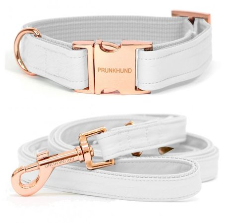 SPRING! The new MILK dog collar in white with rose gold - www.prunkhund.com | Girl dog collars, Cute dog collars, Dog accessories