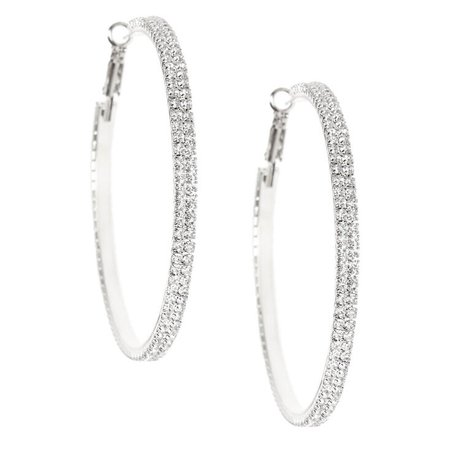 silver diamond hoop earrings