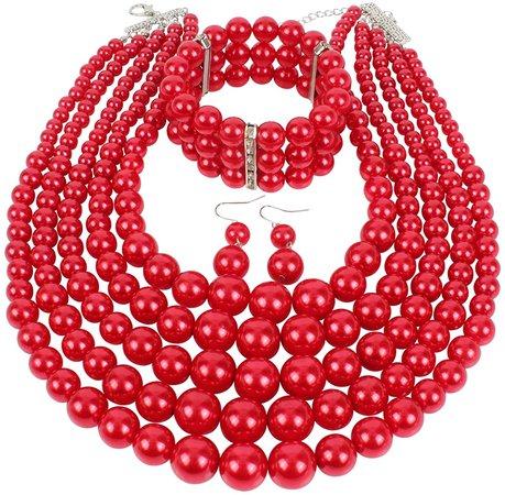 Amazon.com: kosmos-li Multi Layer Simulierte Perle Strand Kostüm Schmuck Sets, rot, 2420-RED-C8: Jewelry