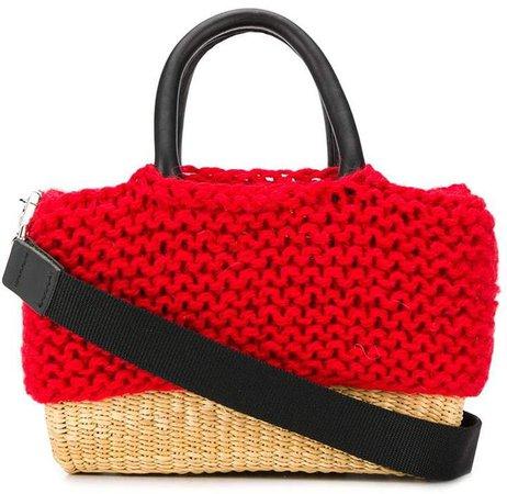 knit basket tote bag