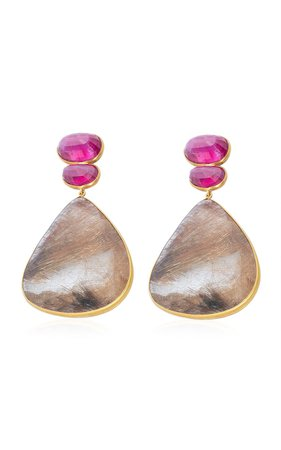 Ruby, Quartz 18K Yellow Gold Earrings by Bahina | Moda Operandi