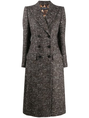 Shop brown Dolce & Gabbana check double-breasted wool coat with Express Delivery - Farfetch