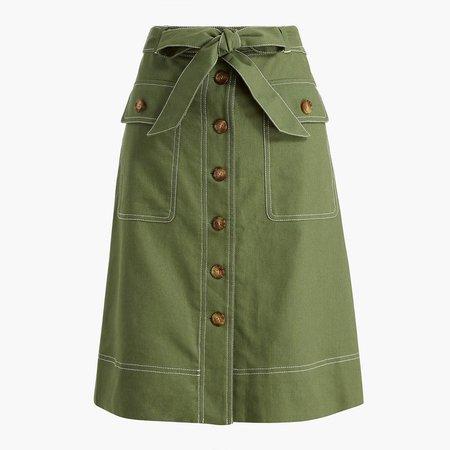 Linen-blend button-through belted midi skirt
