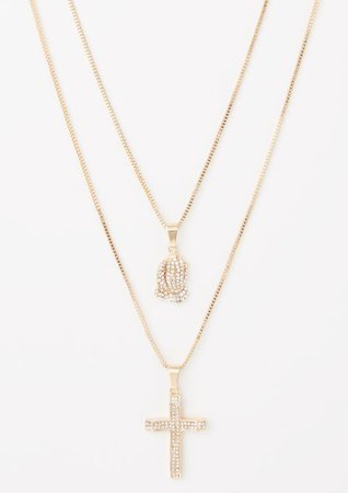 2-Pack Gold Cross Hands Necklace Set | Necklaces | rue21