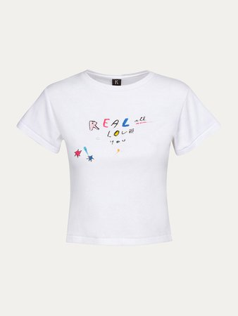 Real Love Tee   White Classic Baby Tee   Réalisation Par