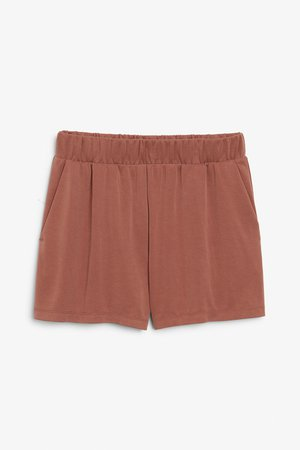 Super-soft sporty shorts - Sort of rust - Trousers & shorts - Monki BE