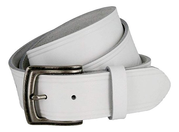 Made in USA Hand Cut Full Grain White Leather Belt For Men at Amazon Men's Clothing store