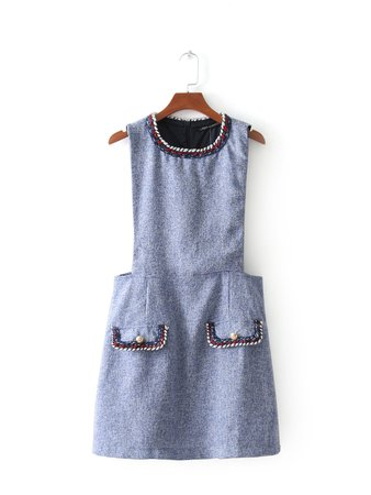 Contrast Trim Tweed Dress