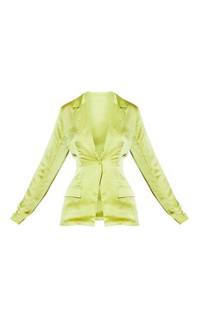 Lime Satin Tailored Blazer | Co-Ords | PrettyLittleThing