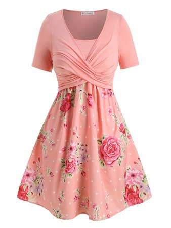 [41% OFF] Plus Size Floral Print Crossover A Line Dress   Rosegal
