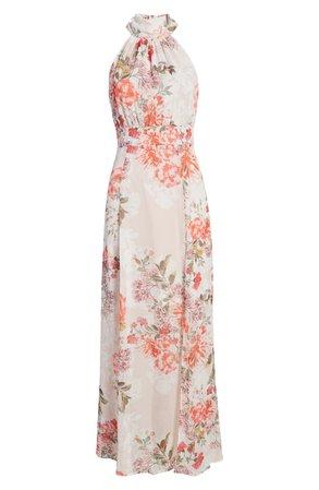 Eliza J Floral Halter Neck Slim Maxi Dress | Nordstrom