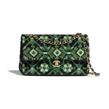 Sequins & Gold-Tone Metal Green & Black Classic Handbag | CHANEL