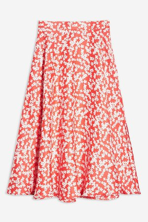 Red Floral Full Circle Midi Skirt | Topshop red