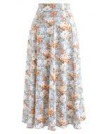 Opulent Floral Print A-Line Midi Skirt - Retro, Indie and Unique Fashion