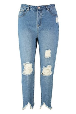 Plus Ripped Distressed High Waist Mom Jean | Boohoo