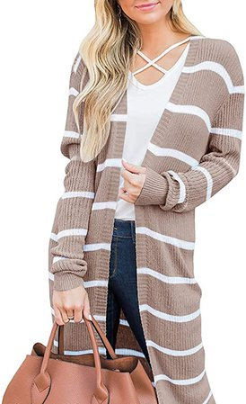 Hestenve Womens Boho Open Front Cardigan Colorblock Long Sleeve Loose Knit Lightweight Sweaters Khaki at Amazon Women's Clothing store