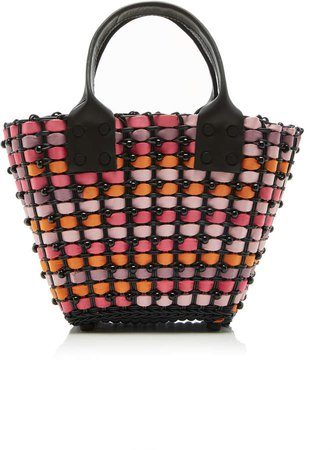 Truss TRUSS Small Woven Beaded Leather Tote
