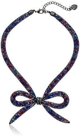 "Betsey Johnson ""Dark Shadows"" Mesh Bow Necklace: Jewelry"