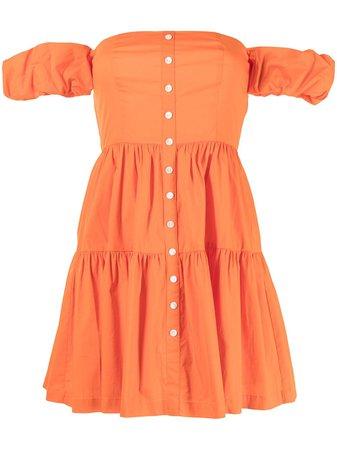 Shop orange STAUD Elio off-shoulder mini dress with Express Delivery - Farfetch