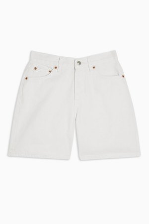 Mid Rise White Denim Shorts   Topshop