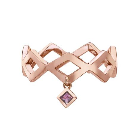 Lucia Dangle Band with Princess Cut Pink Sapphire in 14k Rose Gold by GiGi Ferranti