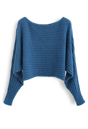 Fuzzy Boat Neck Crop Knit Sweater in Blue - Retro, Indie and Unique Fashion