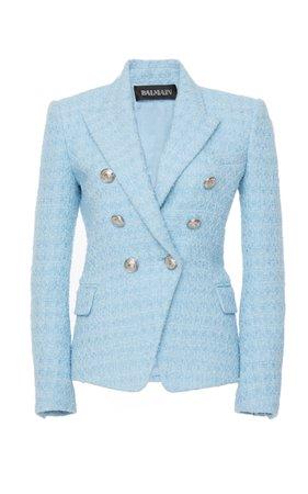 Double-Breasted Tweed Blazer by Balmain   Moda Operandi