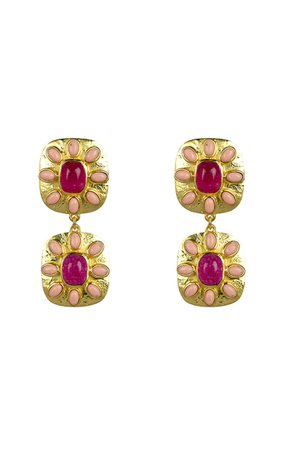 Maria Gold-Plated Jade And Coral Earrings By Valére | Moda Operandi