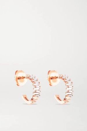 Gold 18-karat rose gold diamond hoop earrings | Suzanne Kalan | NET-A-PORTER