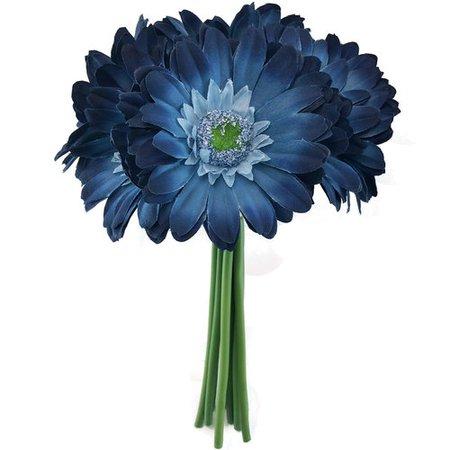 Blue Daisy Wedding Bouquet - Silk Bridal Flowers- 9 stem - TheBridesBouquet.com
