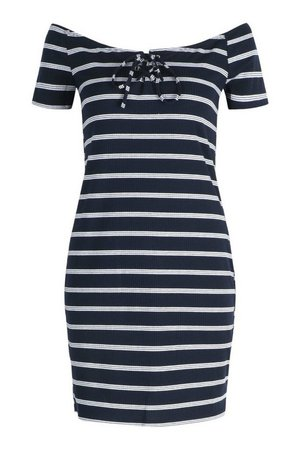 Striped Off The Shoulder Mini Dress | boohoo