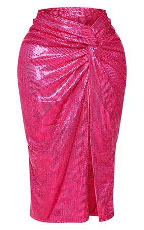 Shape Hot Pink Sequin Twist Detail Split Midi Skirt | PrettyLittleThing