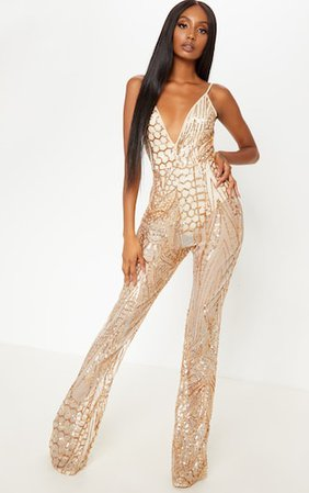 Gold Sequin Flared Leg Jumpsuit | PrettyLittleThing USA
