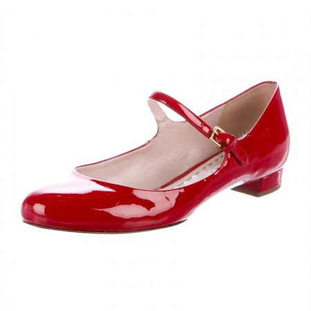 Red Patent Leather Mary Jane Shoes Round Toe Flats for Work, Date, Anniversary, Going out | FSJ