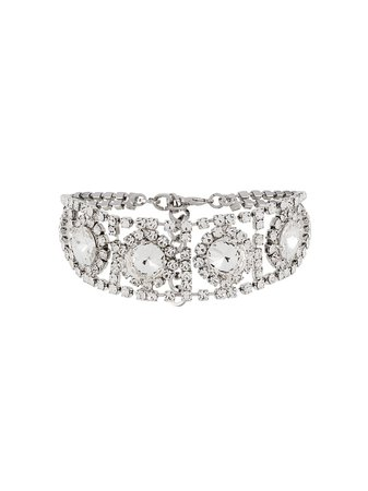 Silver Alessandra Rich Crystal Embellished Choker | Farfetch.com