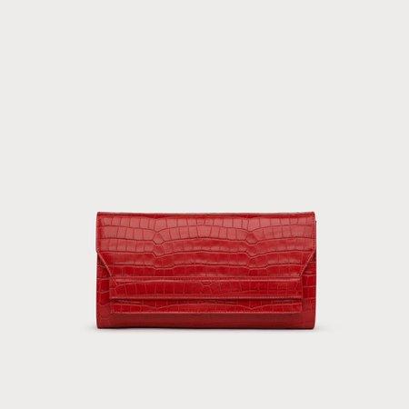 Ella Red Croc Effect Leather Clutch | Handbags | L.K.Bennett