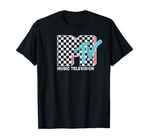 Amazon.com: MTV Neon Distressed Checkered Logo Graphic T-Shirt: Clothing