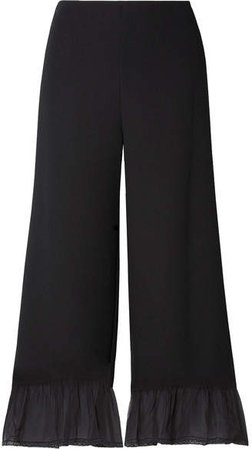 Silk Chiffon-trimmed Crepe Wide-leg Pants - Black