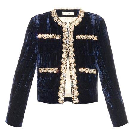 Navy Velvet Embellished Jacket