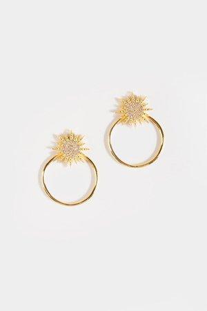 Sofia Starburst Circle Drop Earrings | francesca's
