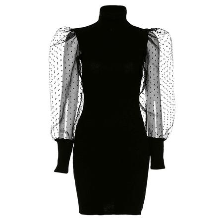 JESSICABUURMAN – HARRE Turtleneck Puff Sleeves Mini Dress