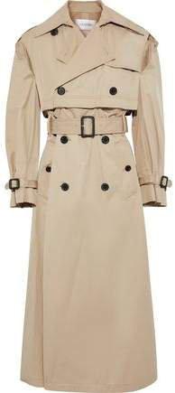 Button-detailed Cutout Gabardine Trench Coat