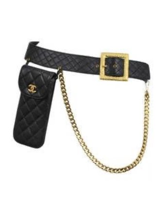 Black leather Chanel belt w/ holder accessory