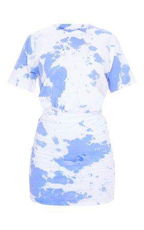 Blue Tie Dye Elastic Waist T Shirt Dress | PrettyLittleThing USA