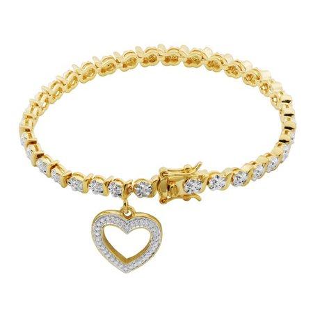 "Forever Facets - 18K Yellow Gold Plated Diamond Accent Open Heart Charm Tennis Bracelet, 7.25"" - Walmart.com - Walmart.com gold"